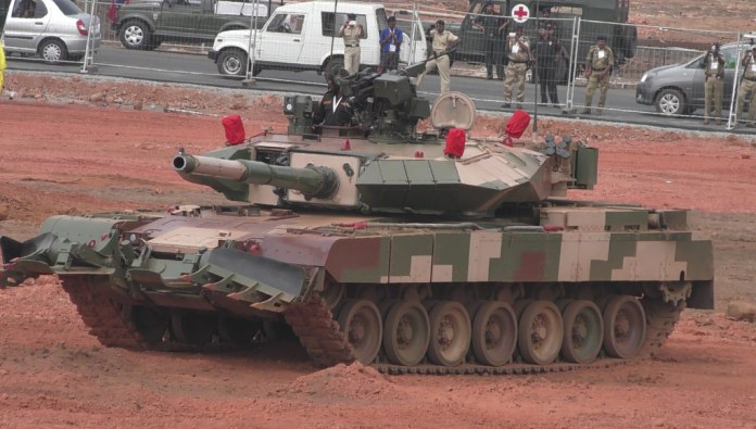 Arjun Mk II is an improved version of the indigenous Arjun tank developed by the DRDO. The tank was presented on the static display at Defexpo 2014 and was shown in action, in public today at Defexpo 2016 in Goa for the first time. Photo: Noam Eshel, Defense-Update