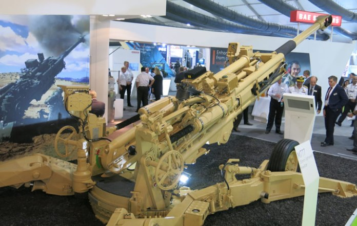 This is the conventional M777 as displayed by BAE Systems this week at Defexpo 2016 in India. The cannon is one of few forerunners in a competition to sell towed artillery to India. BAE is teamed with Mahindra to carry out the production in India. Photo: Noam Eshel, Defense-Update
