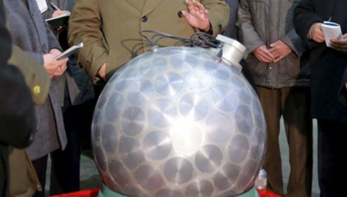 North Korean nuclear fission warhead displayed to leader Kim Jong Un.  Photo: KCNA.