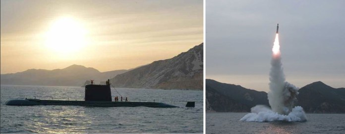 The K11 ballistic missile was launched from a North Korean Gonae class submarine. One of the boats of this class was damaged during a similar event last December. Photo: KCNA