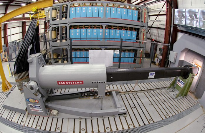In 2010 the railgun developed by BAE Systems was tested to deliver a 33-Megajoule shot, the energy equivalent of firing a projectile at a 110 nmi range. Photo: US Navy.