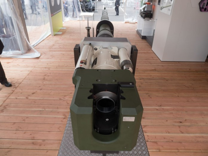 The breech, and recoil mechanism of the new L/51 130mm cannon. Photo: Noam eshel, Defense-Update
