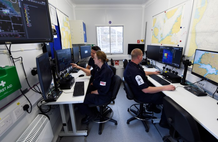 The command operations module located at the British Underwater Test & Evaluation Centre (BUTEC) during Unmanned Warrior (UW) 2016 allows for the control and tasking of unmanned vehicles from multiple suppliers using a generic workstation. The first-ever UW is a research and training exercise designed to test and demonstrate the latest in autonomous naval technologies while simultaneously strengthening international interoperability. T(U.S. Navy photo by John F. Williams)