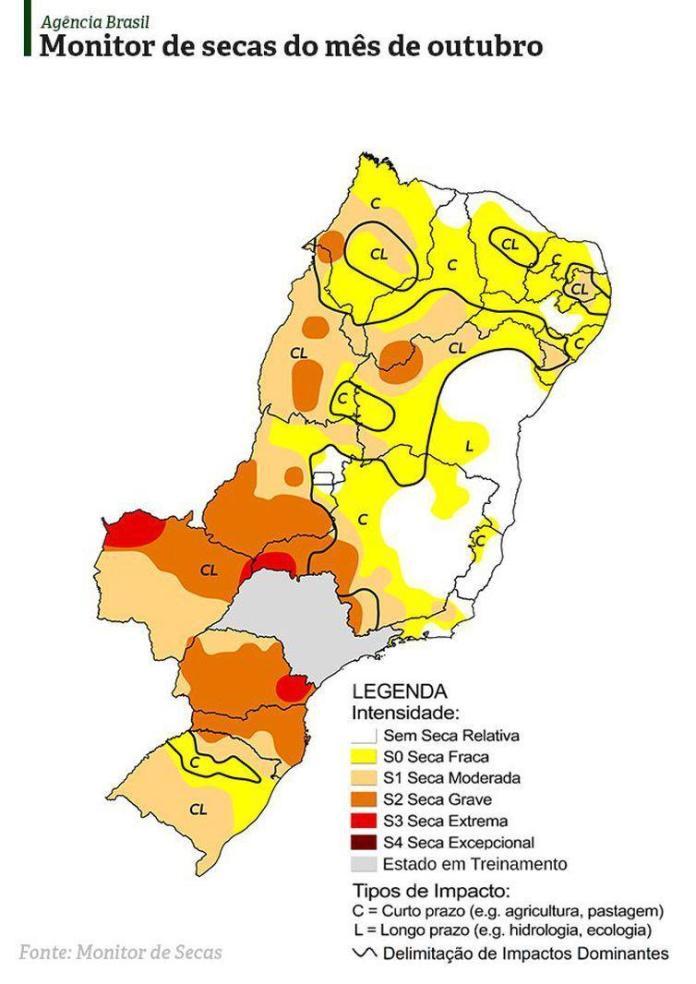 monitor secas outubro - Agência Nacional de Águas publica Mapa da Seca atualizado