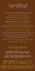 Lerótica light typeface. Character map