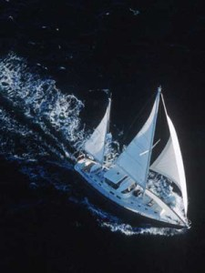 Windfall under sail in the Bahamas