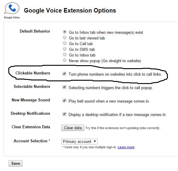"Google Voice ""Click to Call"" Options"