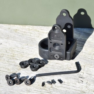 Definitive Arms UFM4 stock adapter for Yugo pattern underfolder AK firearms. Shown with mounting hardware.