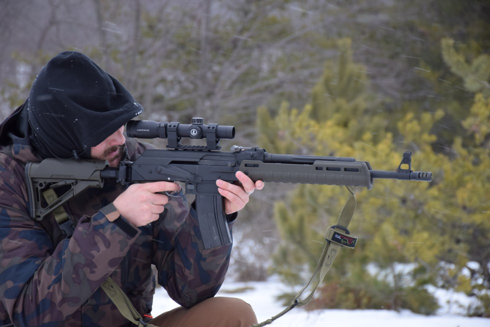 Definitive Arms 6.5 Grendel Vepr conversion being tested somewhere in Northern Michigan.