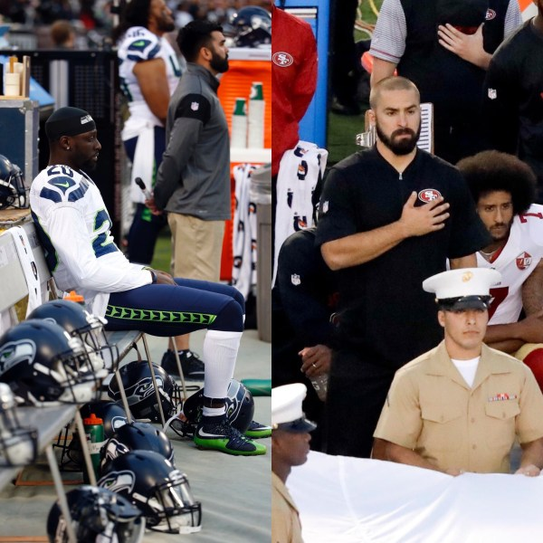 Jeremy Lane sits, Colin Kaepernick and Eric Reid kneel (Tony Avelar/AP / NFL Network)
