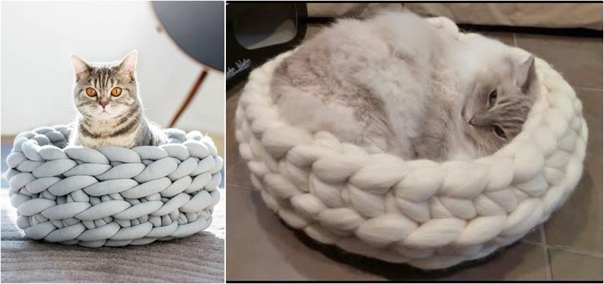 cesta de croche com fio de malha - DIY - artesanato - cama para gato