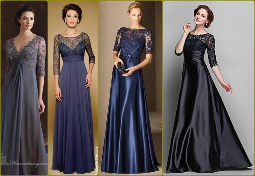 vestido para a mãe da noiva ou noivo - moda anti-idade - longo tons escuros - defrenteparaomar.com