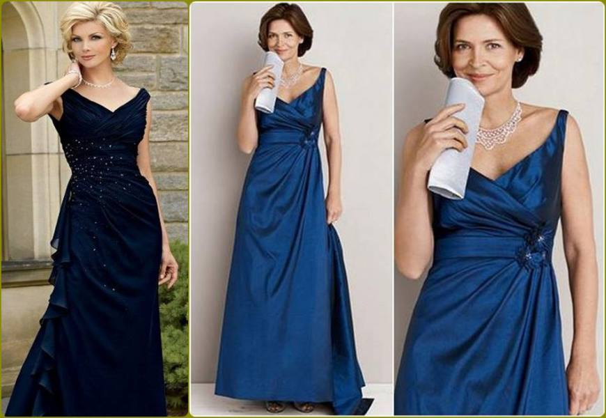 vestido para a mãe da noiva ou noivo - moda anti-idade - longo azul