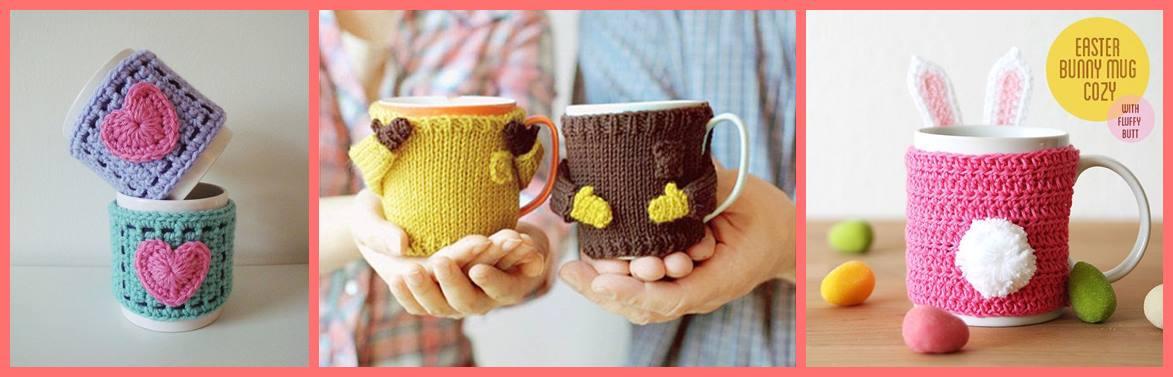 capa para canecas em tricô ou crochê