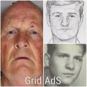 Grid shows Joseph James DeAngelo. Jr now, in 1962, and in a police sketch as published by the FBI.