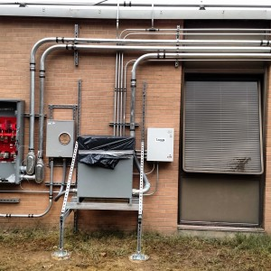 Install of new service equipment on a commercial property.