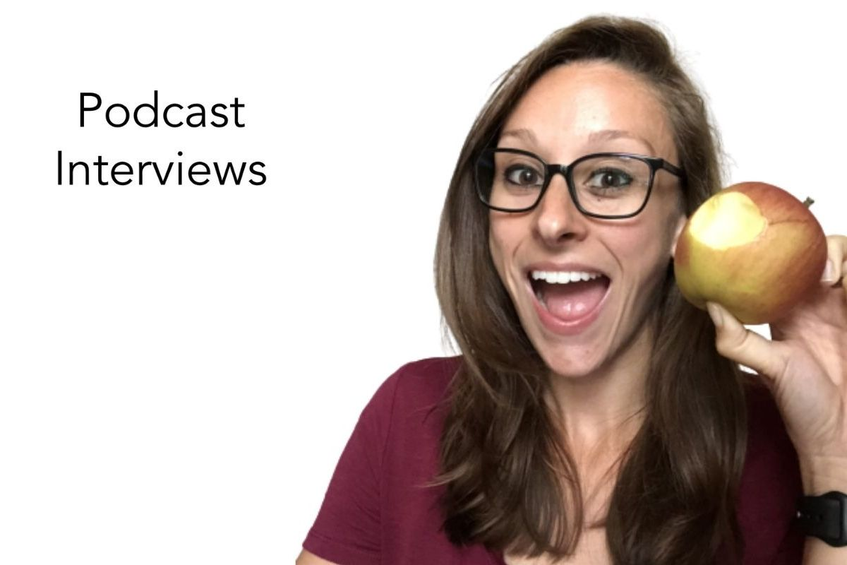 photo of Mary-Catherine holding apple with the words podcast interviews