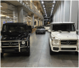 This is the first of J.R.'s luxury SUVs, a Mercedes-Benz G550. The G550 is known for being a beast through terrain. Despite being SUVs, the interiors are crazuy