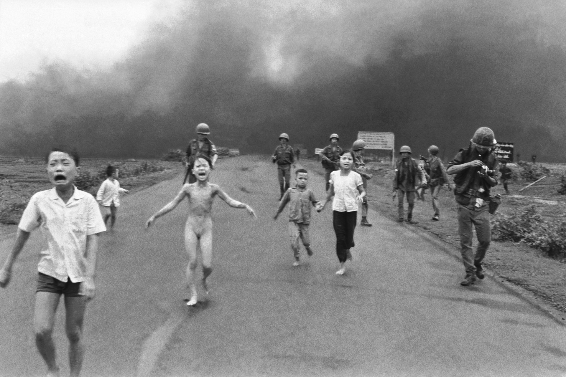 Reference Image: Phan Thị Kim Phúc taken by photographer Huỳnh Công Út a.k.a Nik Ut. Romeo Alaeff, 'Smells Like Napalm,' 2007. 60 x 40 in. (152,4 x 101,6 cm.) Limited Edition Serigraph Print. Edition 10. From the series, 'War on the Brain.' This work employs famous journalistic photos as well as a movie still from 'Apocalypse Now' to invoke impressions of Vietnam as seen through the media, which was responsible in part for changing public opinion about the war.