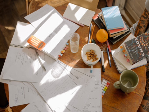 Desk with papers