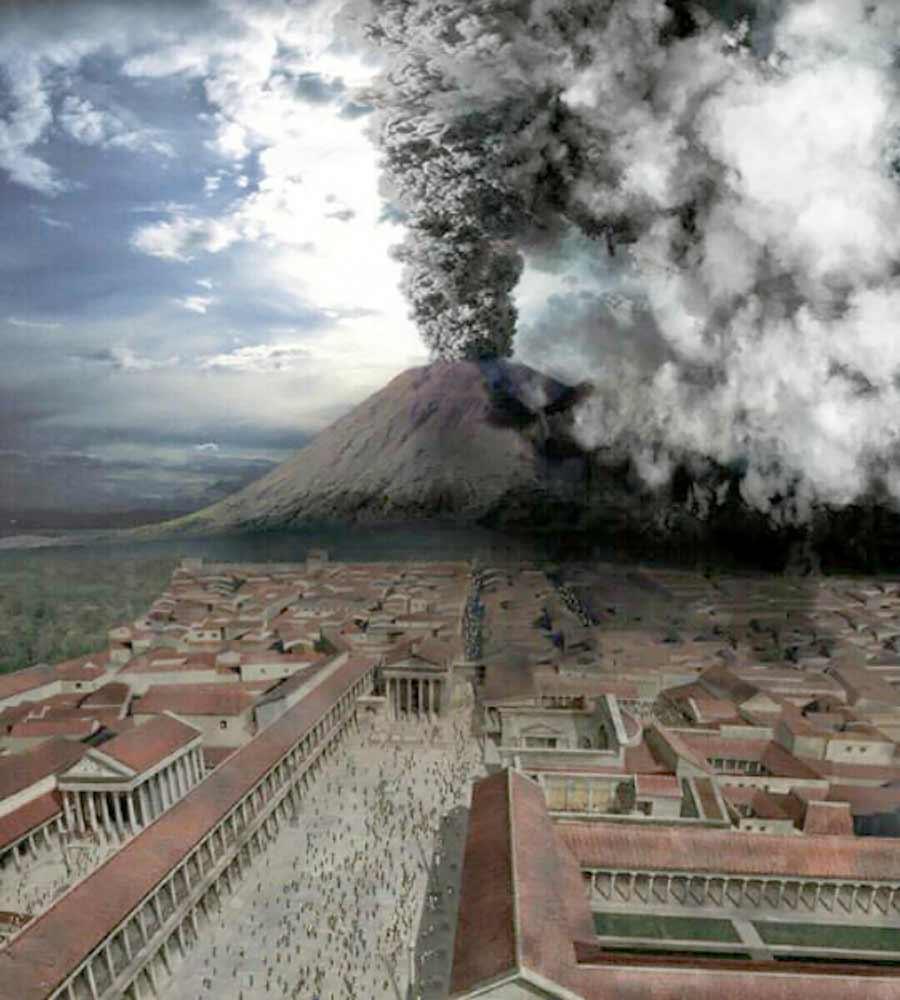 Representação de como a cidade seria antes de ser atingida pelo vulcão.