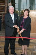 The late Mr. James P. Keeter and his wife Julie cut the ribbon at the grand opening of The Keeter Center in 2004.