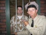 The Law locks up the Law as Barney Fife puts Forsyth Police Chief Jack Gates in the MDA Lock-Up.