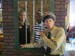 Grand Crown Resort's Smith Toussaint dressed for the occasion with co-worker Robin Neal with Terry Sanders as Barney Fife locking them up.