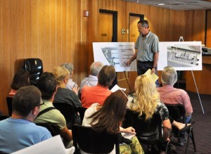 City Engineer David Miller goes over drawings for Liberty Plaza during a public hearing at Branson City Hall last May. (file photo)