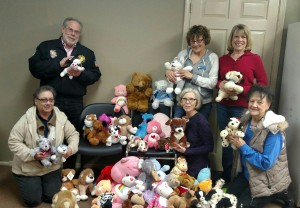 Bob Sarver and Lois Simmons from Vietnam Veterans Chapter 913 delivered approximately 100 Tender Critters to Junior Auxiliary of Taney County members Nina Grayson, Cindi Saltzgiver, Rita Parsons and Carol Raines to  contribute to the February drive.