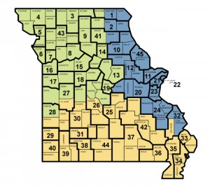Map of Circuit Courts of Missouri, prior to the creation of the new 46th Judicial Circuit.
