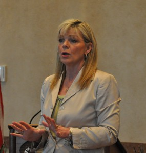 Terri Tucker speaking at the March 17th Hollister Chamber Lunch at the Keeter Center