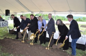 Mercy officials and Branson dignitaries break ground on the new Mercy Branson Clinic on Monday, May 2, 2016. (photo by Sam Clanton)