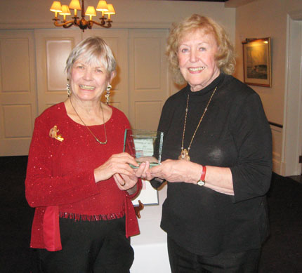 "Art Society of Old Greenwich Co-President, Barbara Stretton (left), presented Nancy Kulinski, ASOG Treasurer, with the ""John Tatge Memorial Award: Volunteer of the Year 2015"" for her outstanding volunteer service to the society."