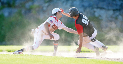 Greenwich Cannon's Alex Loparco looks to make the tag at second base during a game last week. (John Ferris Robben photo)
