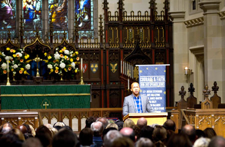 Author, attorney and equal justice advocate, Bryan Stevenson, speaking to a full house for the Courage & Faith speaker series. (Joanne Bouknight photo)