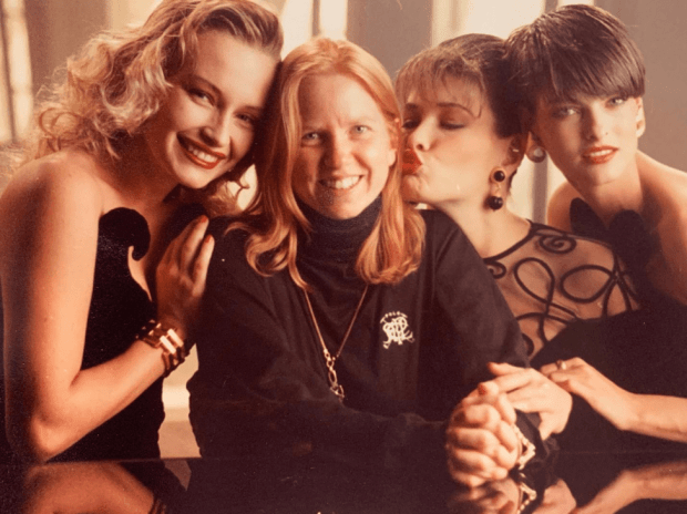 Throwback photo of Estelle, Bobbi, Carla Bruni, Linda Evangelista on a Revlon shoot.