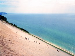 For all the times I went to the Sleeping Bear Dunes, I showed you signs about how much drop it really is to the water, talked about it, finally i found an angle that is *somewhat decent* to show you how steep the drop really is. Just wait till you get there.