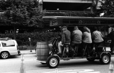 Peddling a vehicle while drinking, to bar hop, what an idea. FYI the have to pedal like crazy to get it to move, it was quite funny.