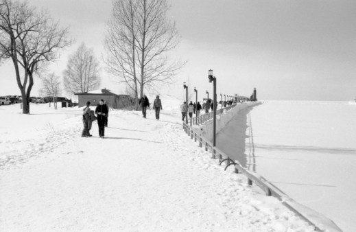 The path to the Pier. Notice the guard rails. Grand River is on the right, don't let it fool you, that is not quite frozen.