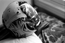 Photo of his cracked helmet. He had no brain injury with humors still intact.