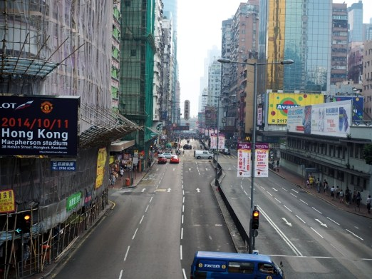 Looking at the occupy site from a distance on Nathan Road.