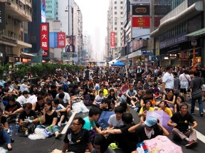 Peacefully sitting on the Nathan Road.