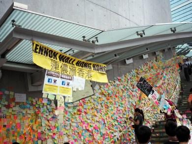 A closer look at the Lennon Wall, Hong Kong.