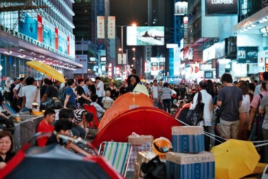 Mong Kok's street is normally packed to begin with, now there are even more people.