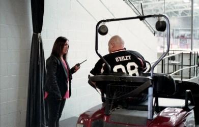 Kara, O'Riley and the Gutless Preshow golf kart.