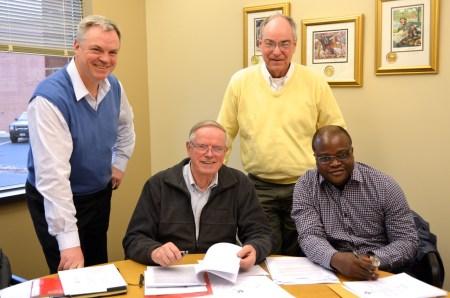 Members of the North American Theological Commission: Fr. Zbigniew Morawiec, Fr. John van den Hengel, Fr. Charles Brown and Fr. Gustave Lulendo