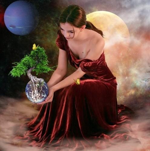 tree globe woman