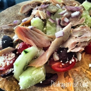 Deidra Penrose, clean eating recipes, healthy chicken wrap, rotisserie chicken, kalamata olives, cucumbers, roasted red pepper hummus, weight loss journey, healthy mom, healthy nurse, fitness nurse, whole wheat wrap, top beachbody coach PA, Figure competition meals