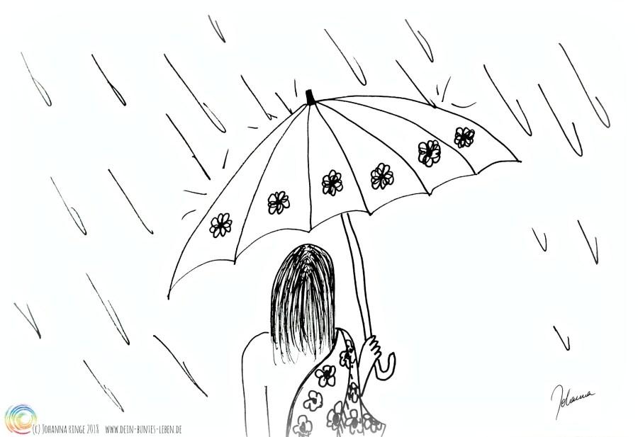 Selbstfürsorge kann manchmal einfach ein Regenschirm sein. Zeichnung von Person mit Schirm im Regen. (c) Johanna Ringe 2018 www.dein-buntes-leben.de